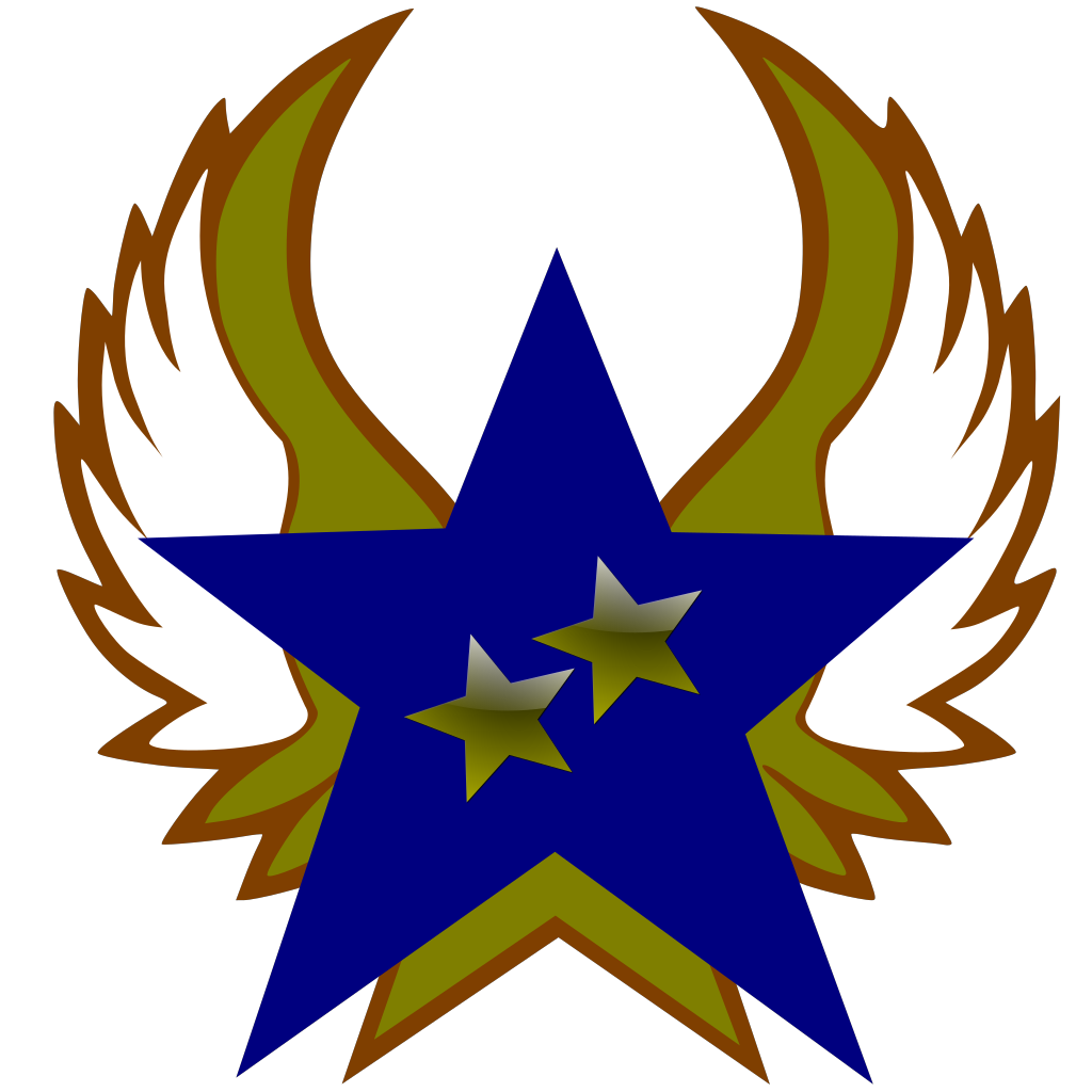 Blue Star With 2 Gold Star And Wings SVG Clip arts