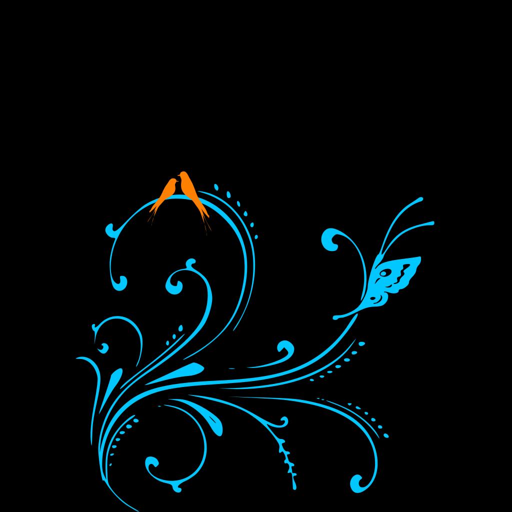 Aqua Hibiscus SVG Clip arts