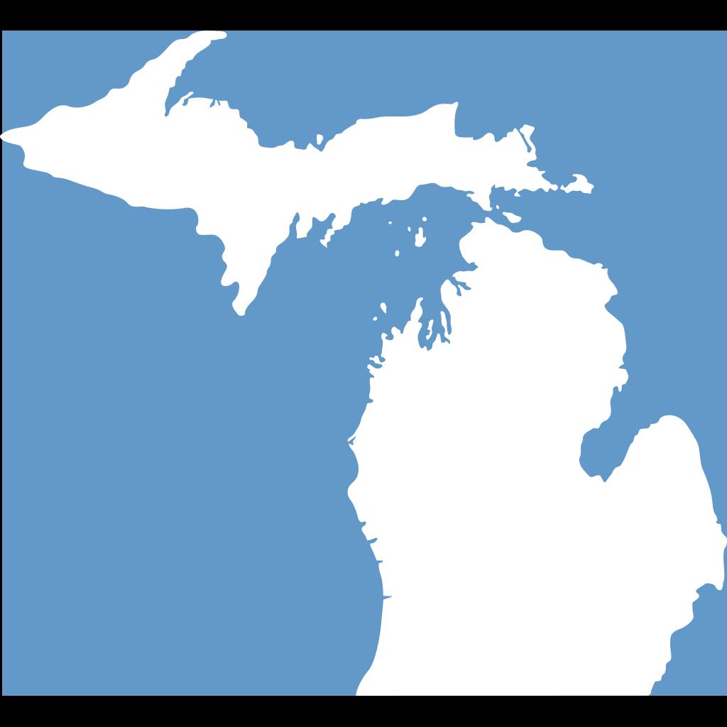 Michigan, Solid White, Light Blue Background SVG Clip arts