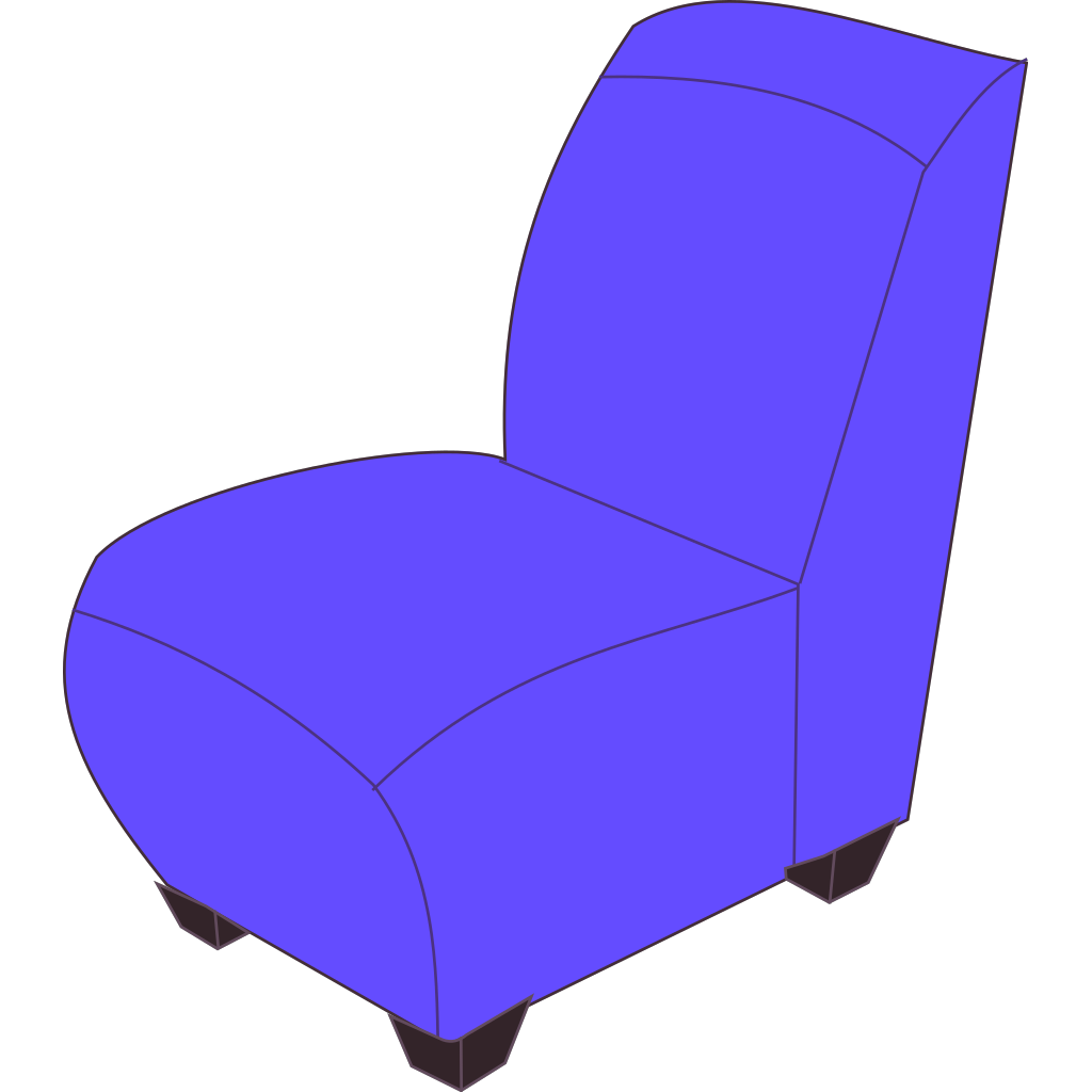 Blue Armless Chair SVG Clip arts