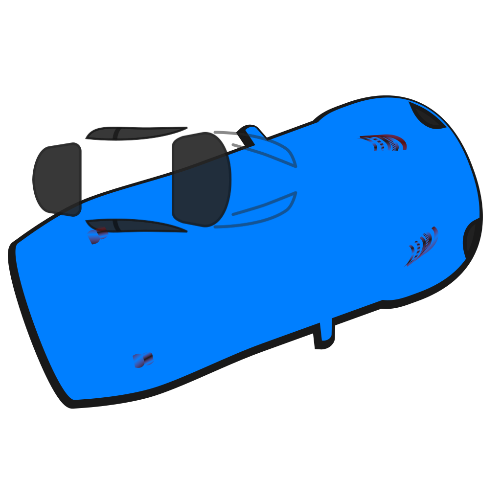 Blue Car - Top View - 20 SVG Clip arts