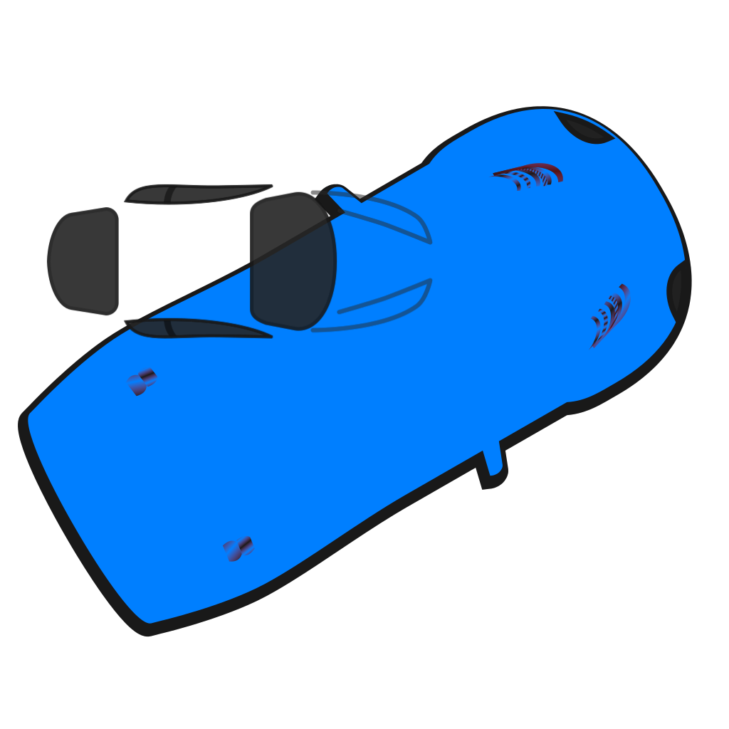 Blue Car - Top View - 30 SVG Clip arts