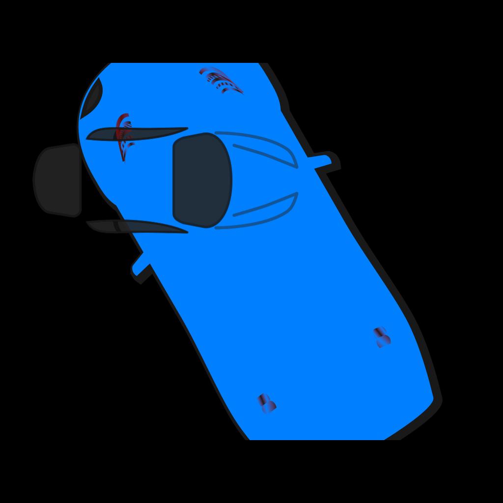Blue Car - Top View - 120 SVG Clip arts