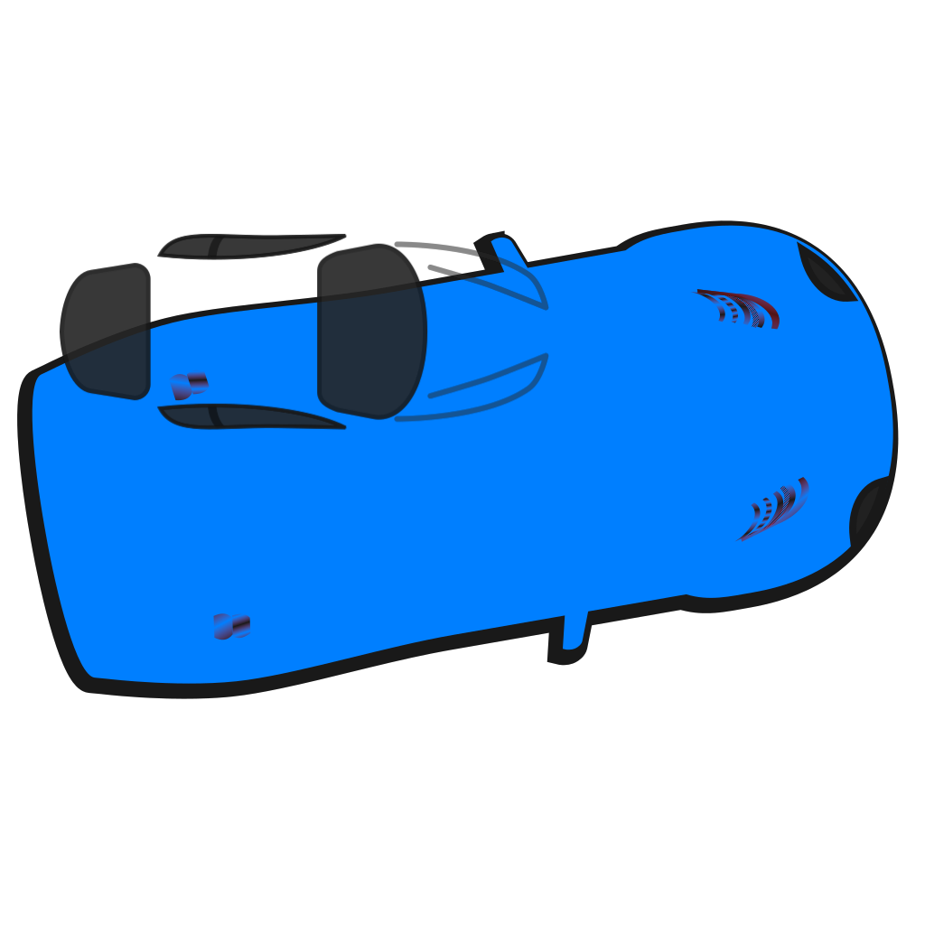 Blue Car - Top View - 10 SVG Clip arts