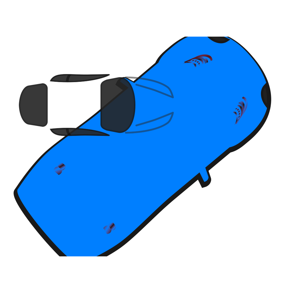 Blue Car - Top View - 40 SVG Clip arts