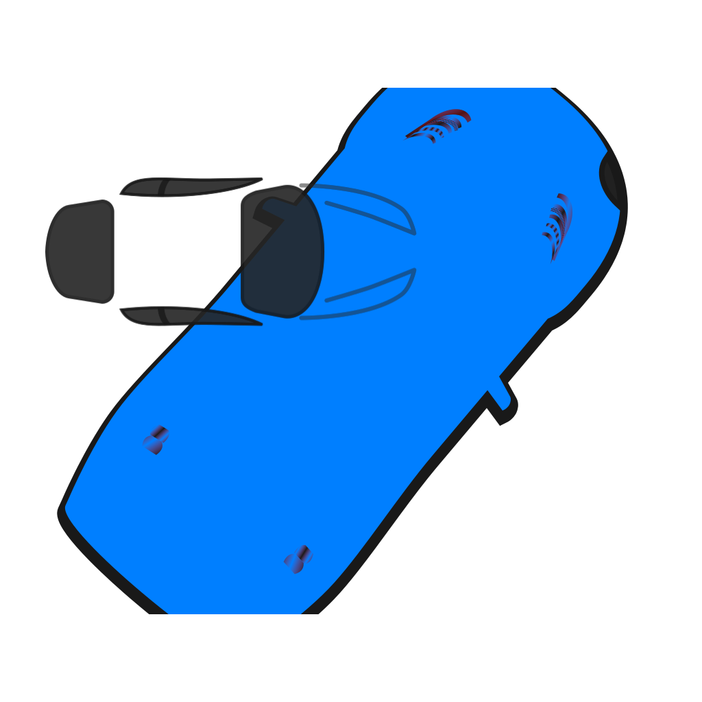 Blue Car - Top View - 50 SVG Clip arts