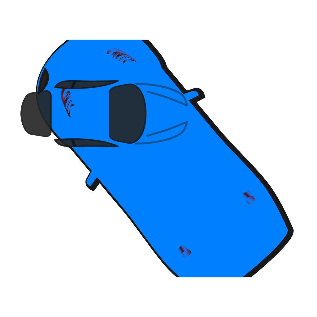 Blue Car - Top View - 130 SVG Clip arts