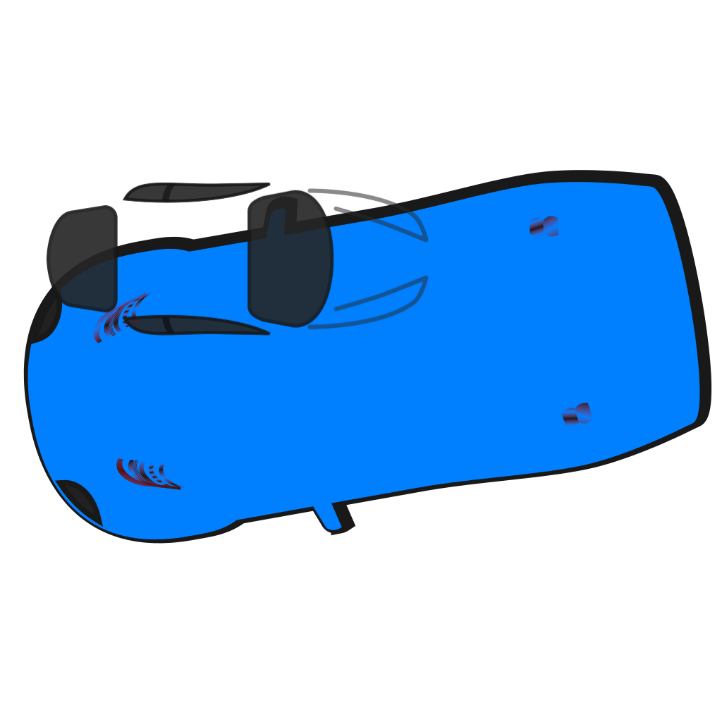 Blue Car - Top View - 190 SVG Clip arts