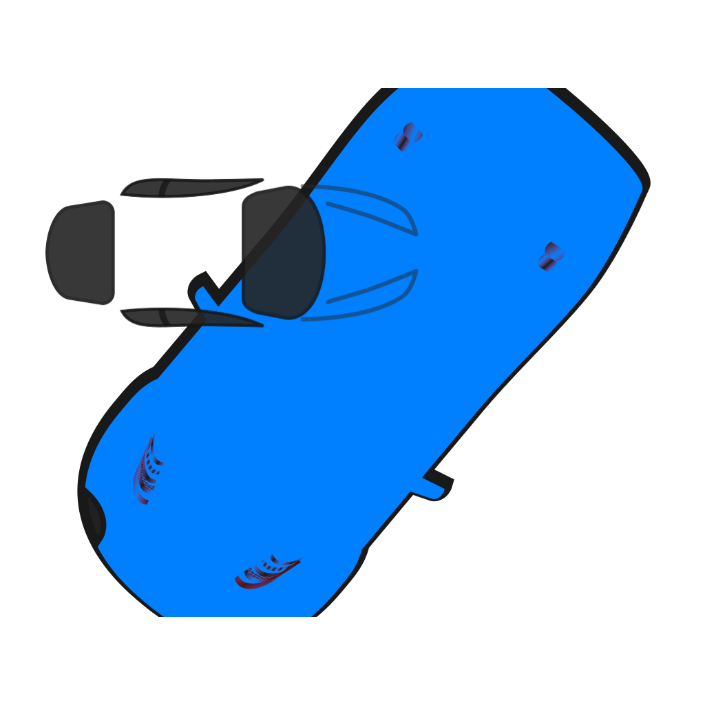 Blue Car - Top View - 230 SVG Clip arts
