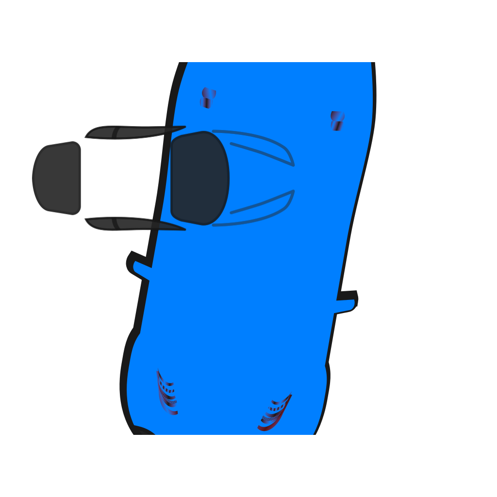Blue Car - Top View - 260 SVG Clip arts