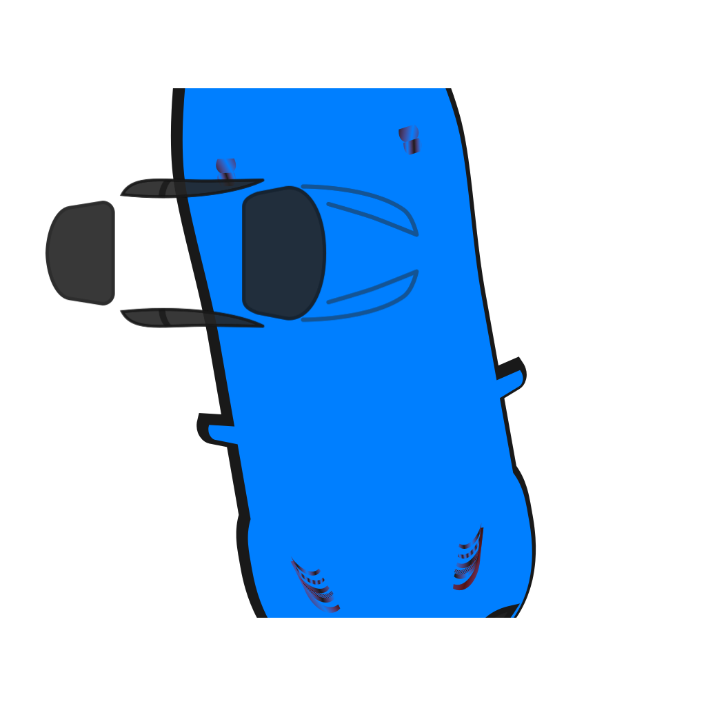 Blue Car - Top View - 280 SVG Clip arts