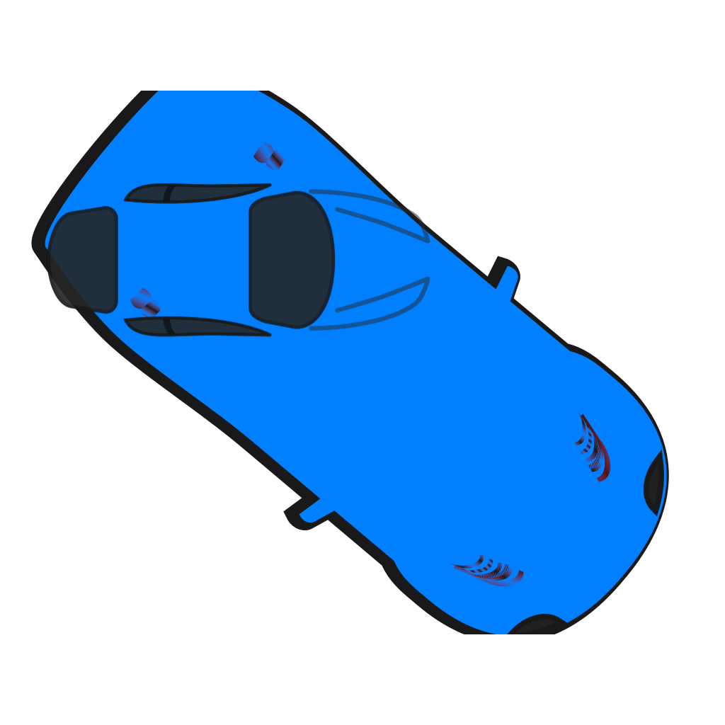 Blue Car - Top View - 320 SVG Clip arts