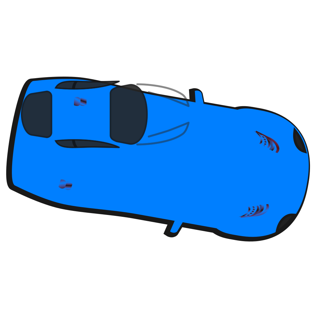 Blue Car - Top View - 350 SVG Clip arts