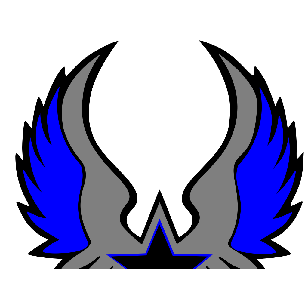 Blue Grey Star Emblem SVG Clip arts
