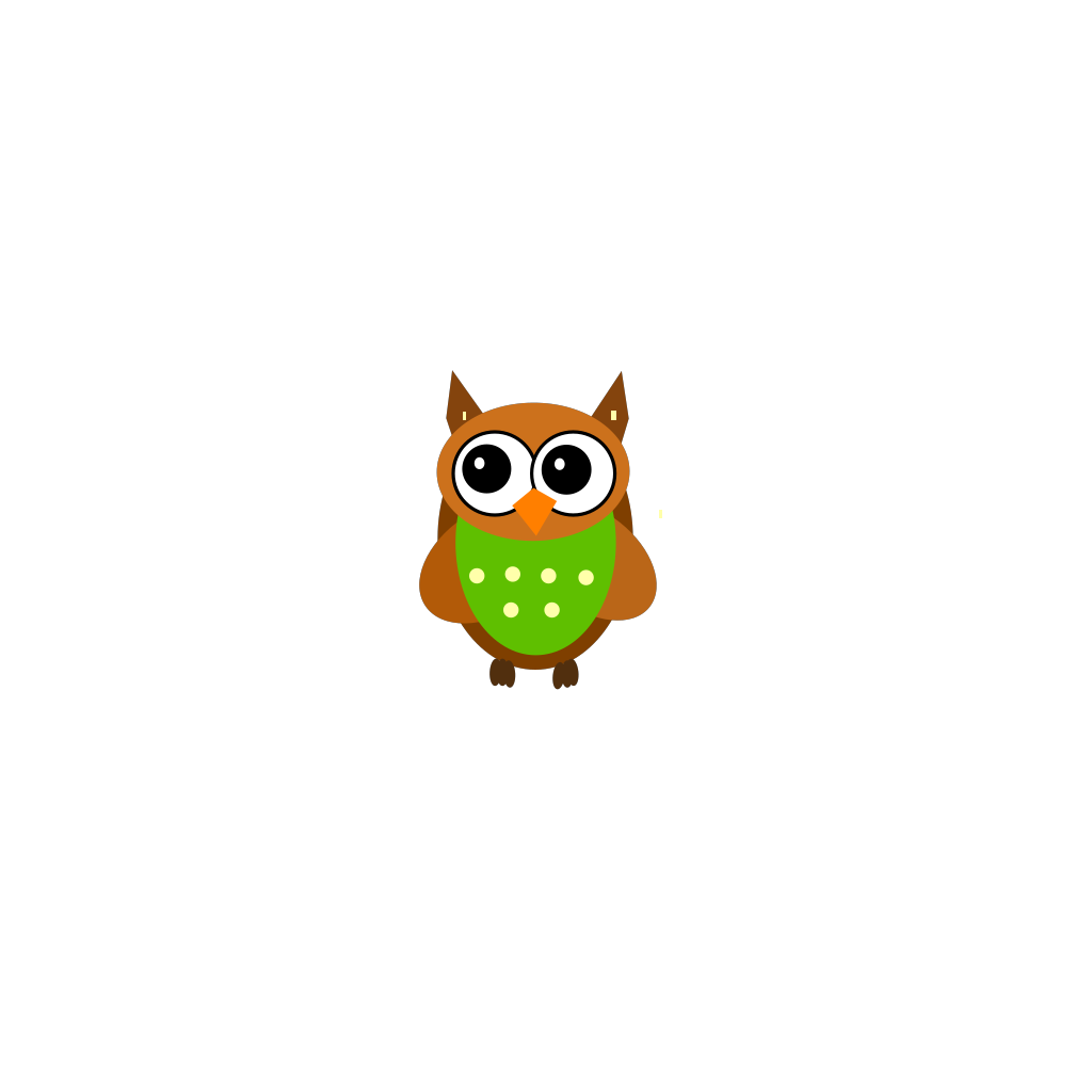 Blue Green Owl On A Branch SVG Clip arts