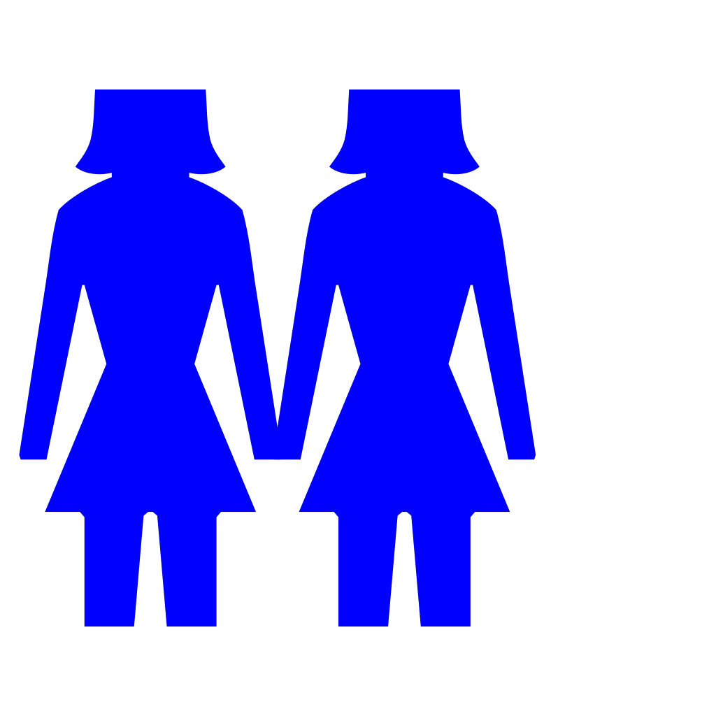 Two Women (blue) SVG Clip arts