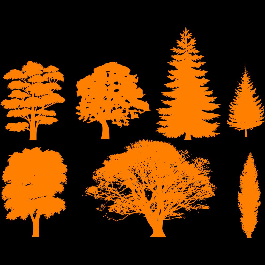 Black Circle Trees SVG Clip arts