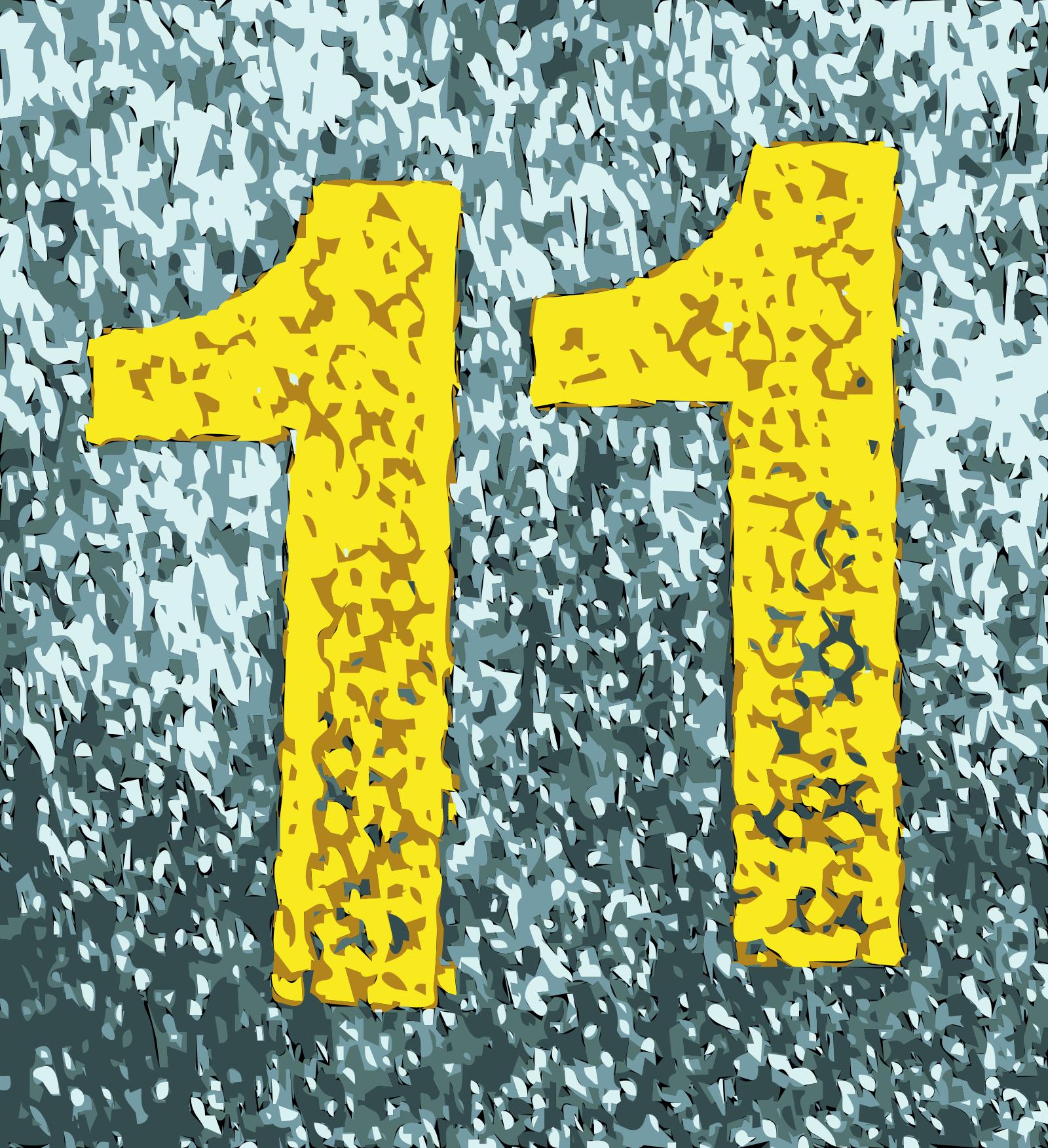 number 11 blue background png