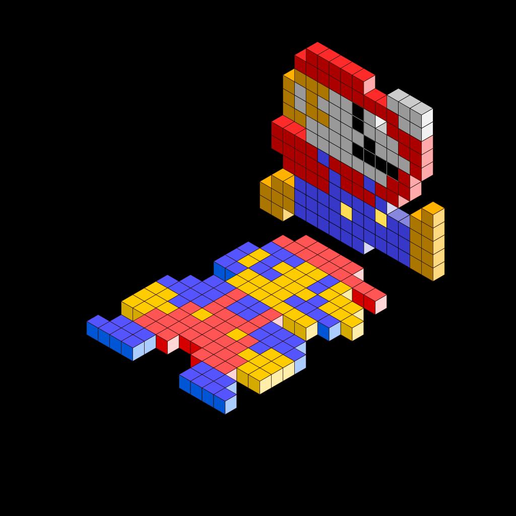 Mario Bros 3d Blocks SVG Clip arts