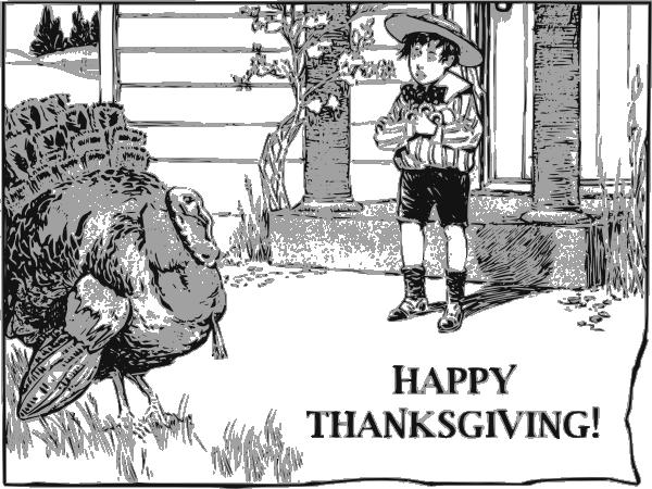 A Boy And His Turkey SVG Clip arts