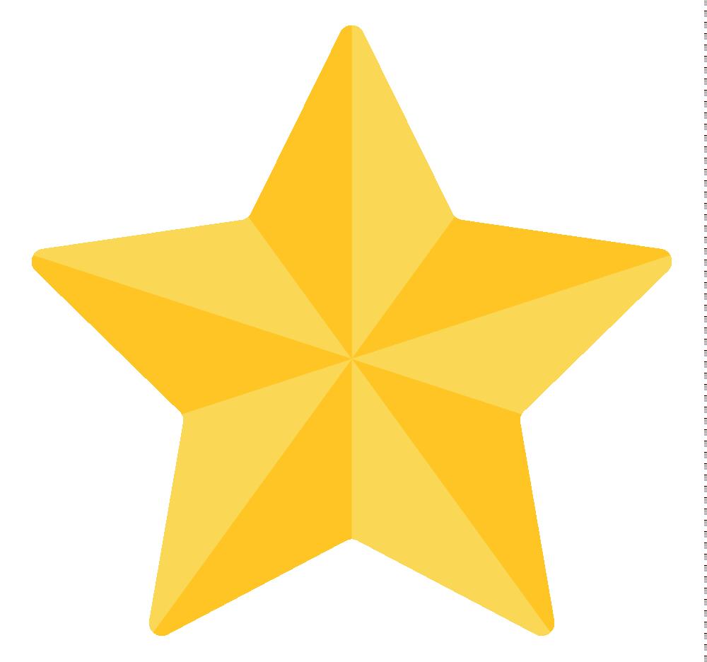 3D Gold Star Transparent Background SVG Clip arts