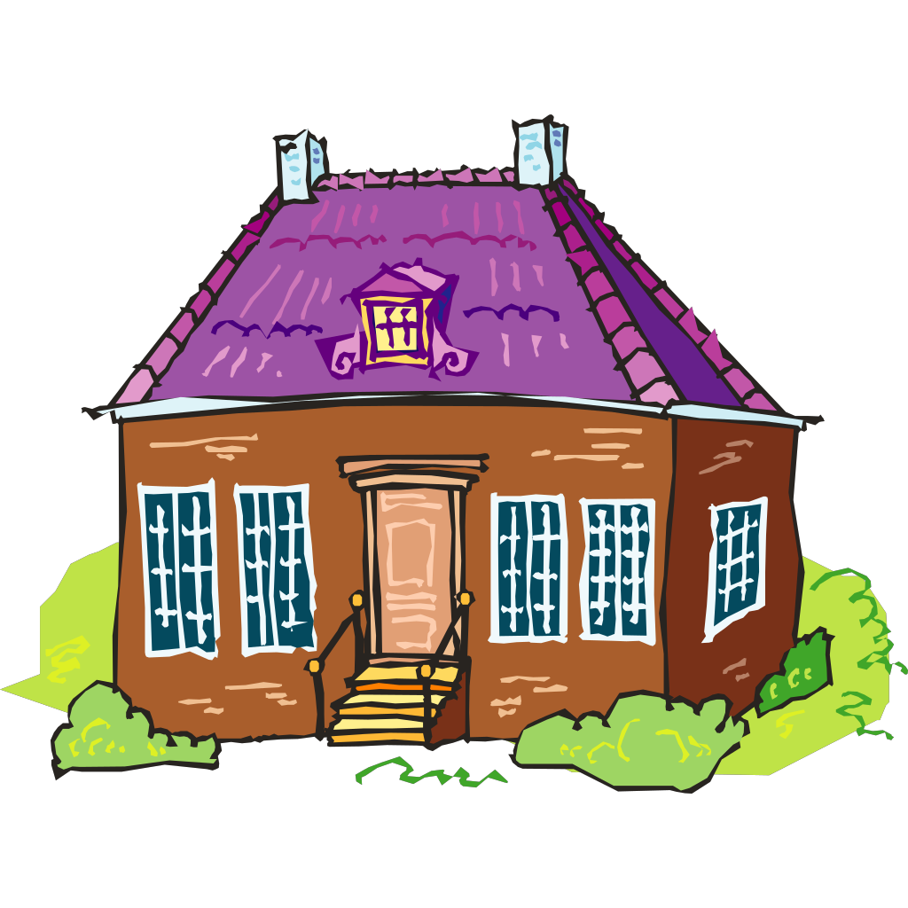 Large Brown Brick House SVG Clip arts