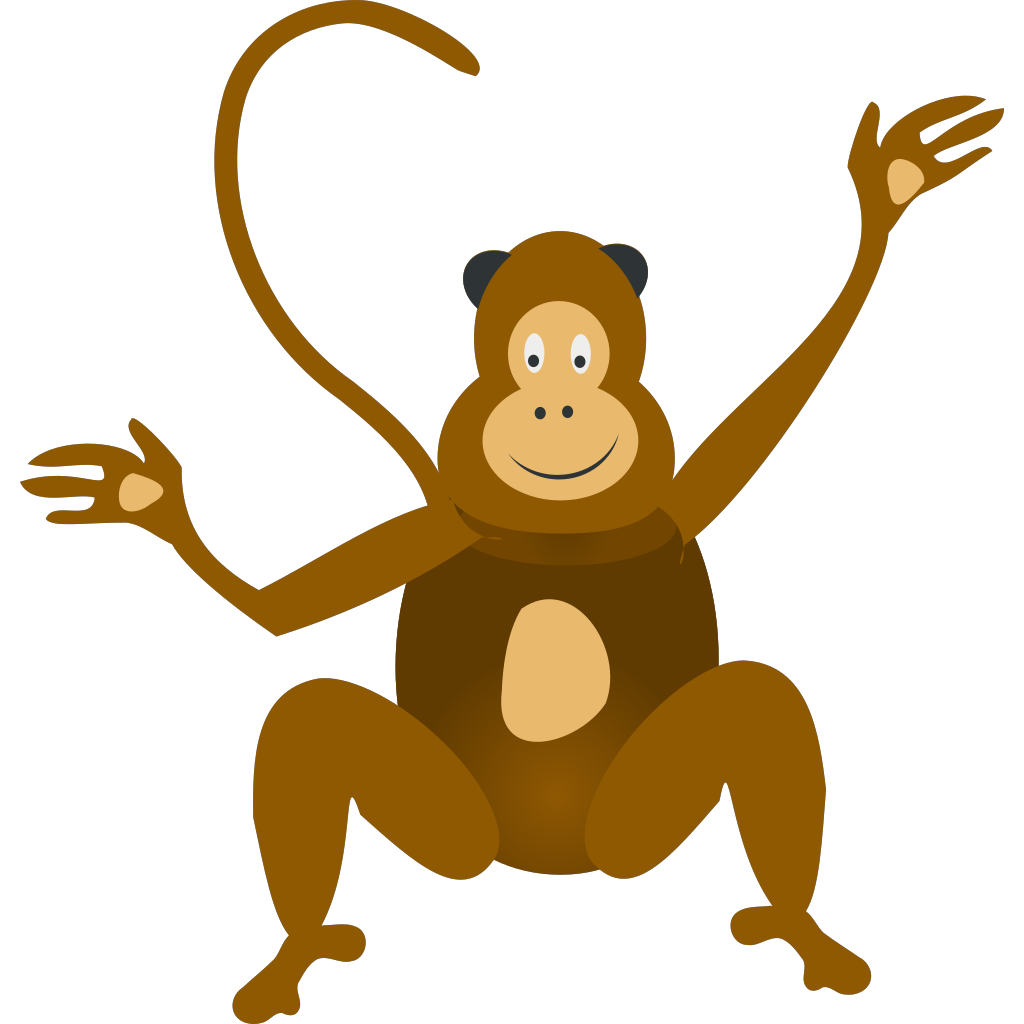 Brown Happy Monkey PNG, SVG Clip art for Web - Download ... (1024 x 1024 Pixel)