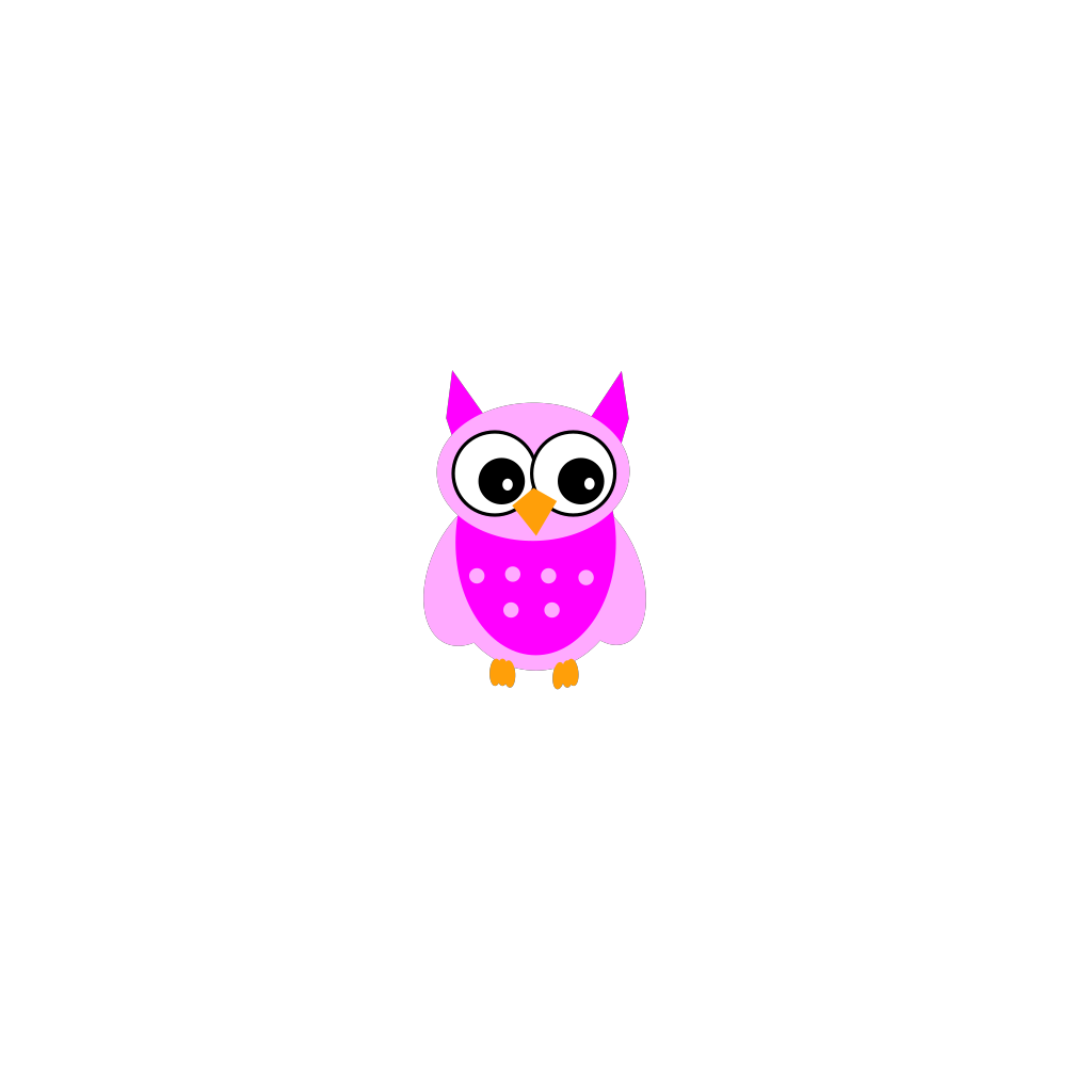Cute Pink Owl2 SVG Clip arts