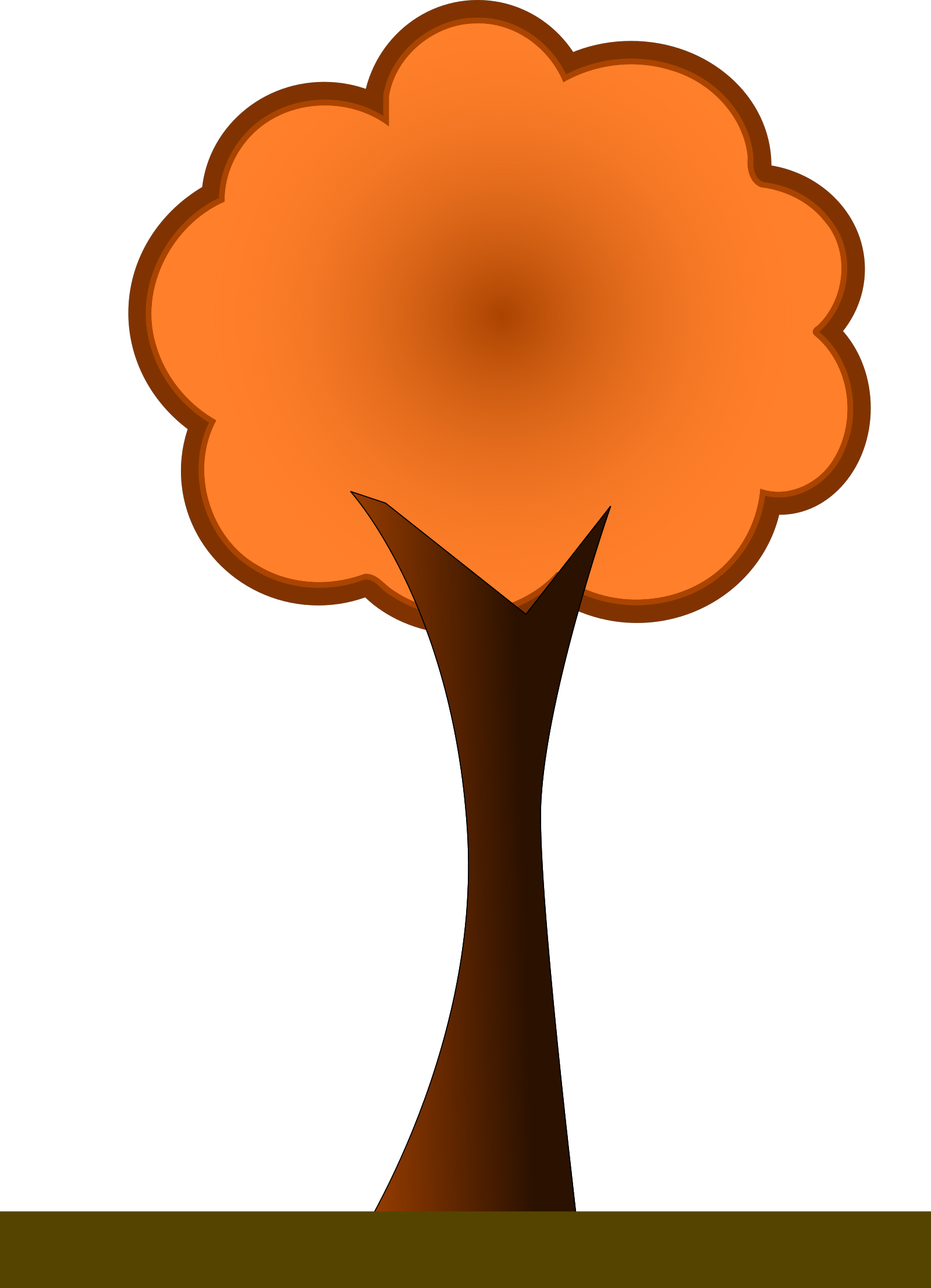 Large 4 Layer Orange Fir Tree SVG Clip arts