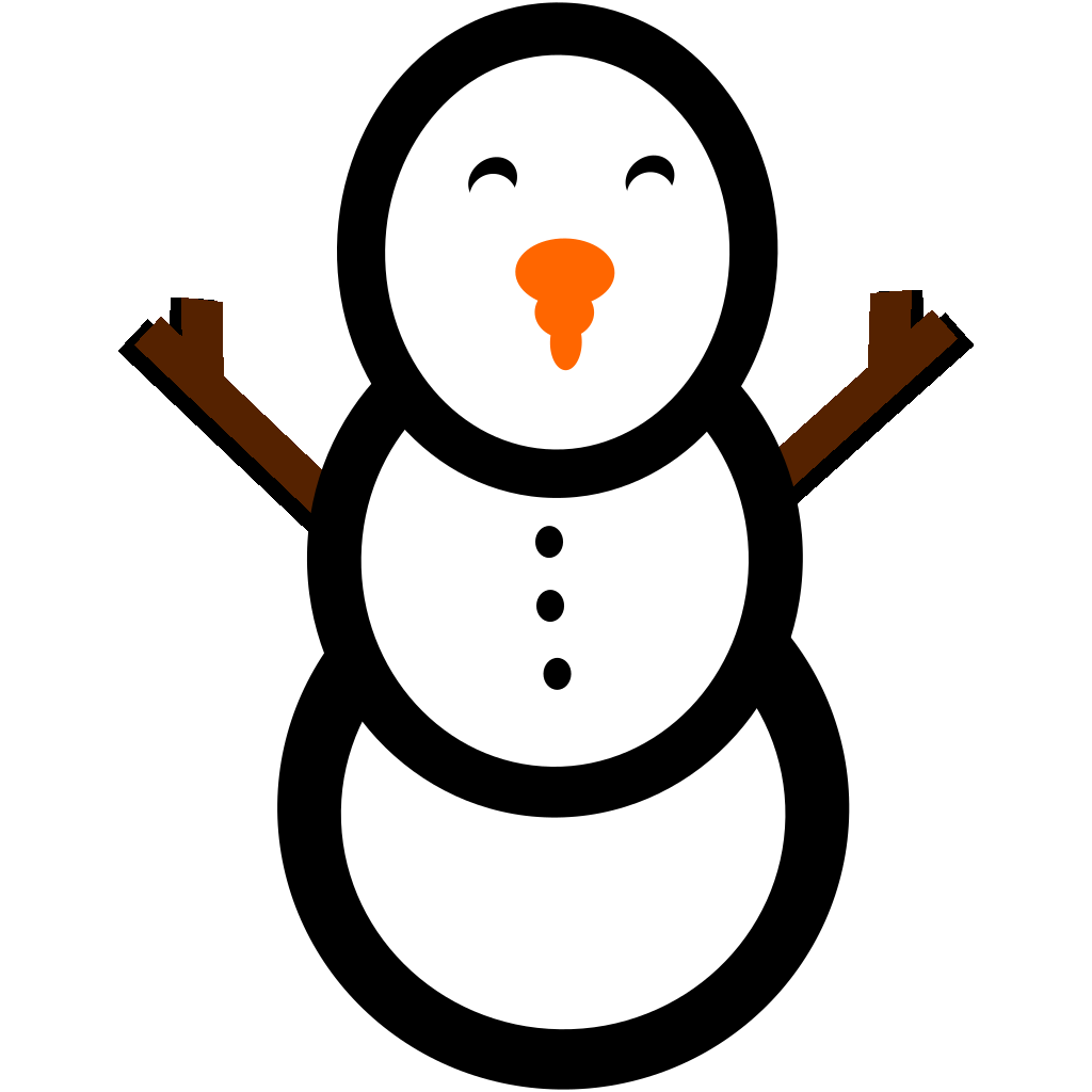 Snowman With Carrot Nose And Hat SVG Clip arts