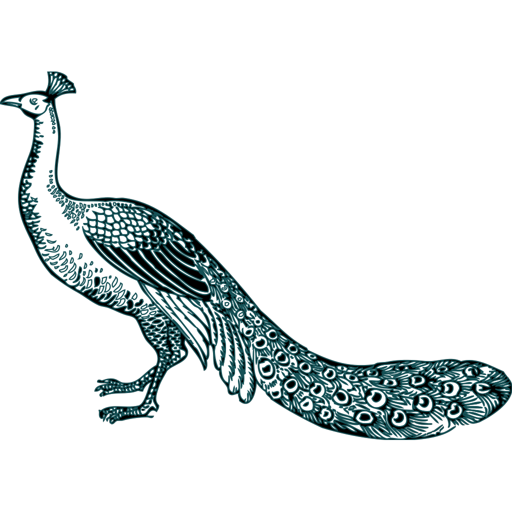 Black And Teal Peacock SVG Clip arts