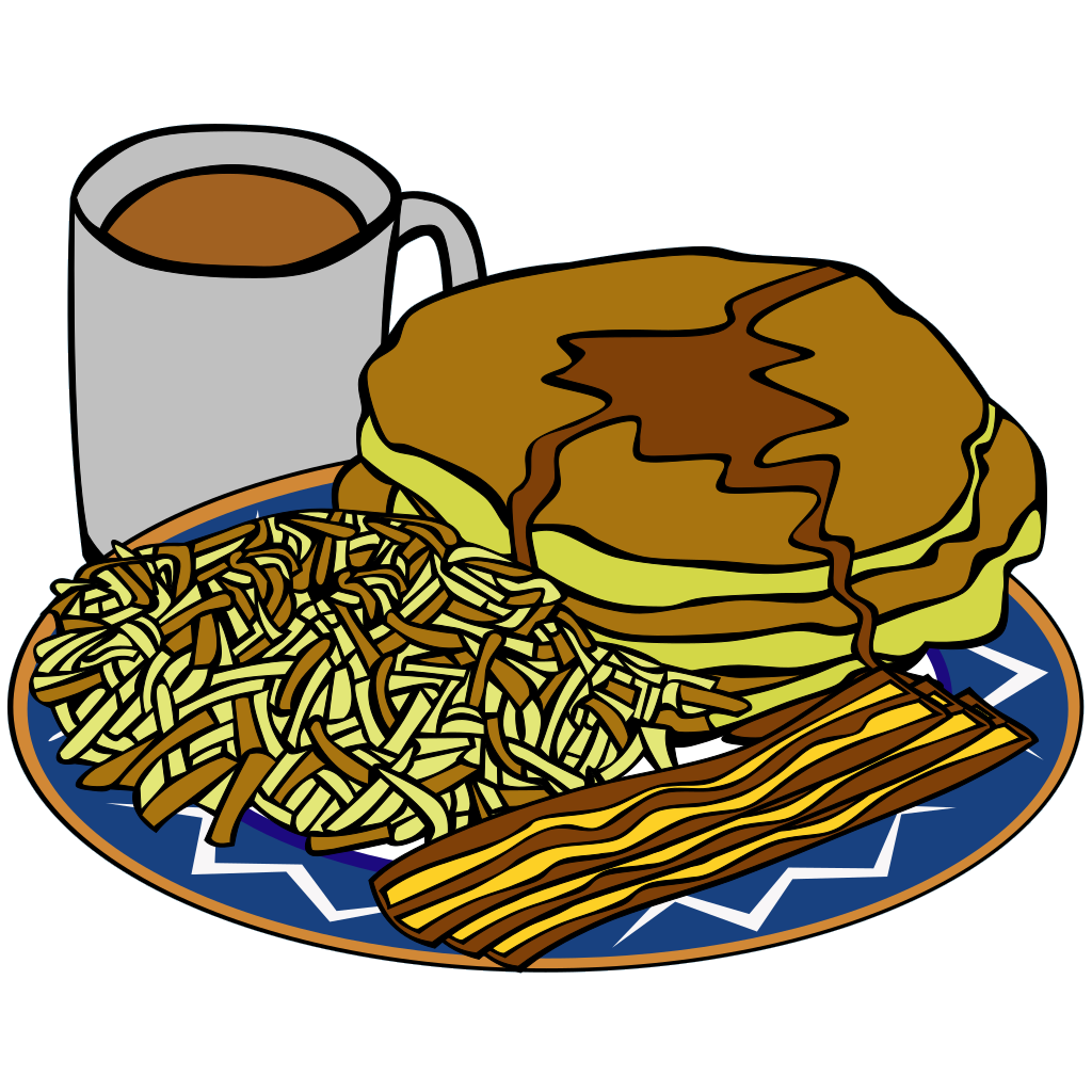 Pancake And Syrup Coffee Bacon Hashbrown SVG Clip arts