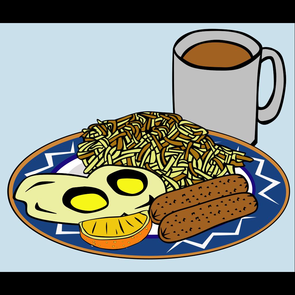 Eggs Sausage Drink Coffee SVG Clip arts