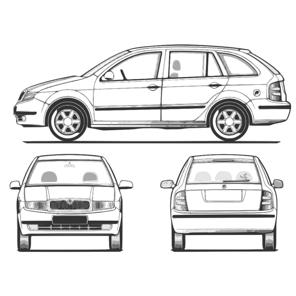 Fabia Car Back View SVG Clip arts