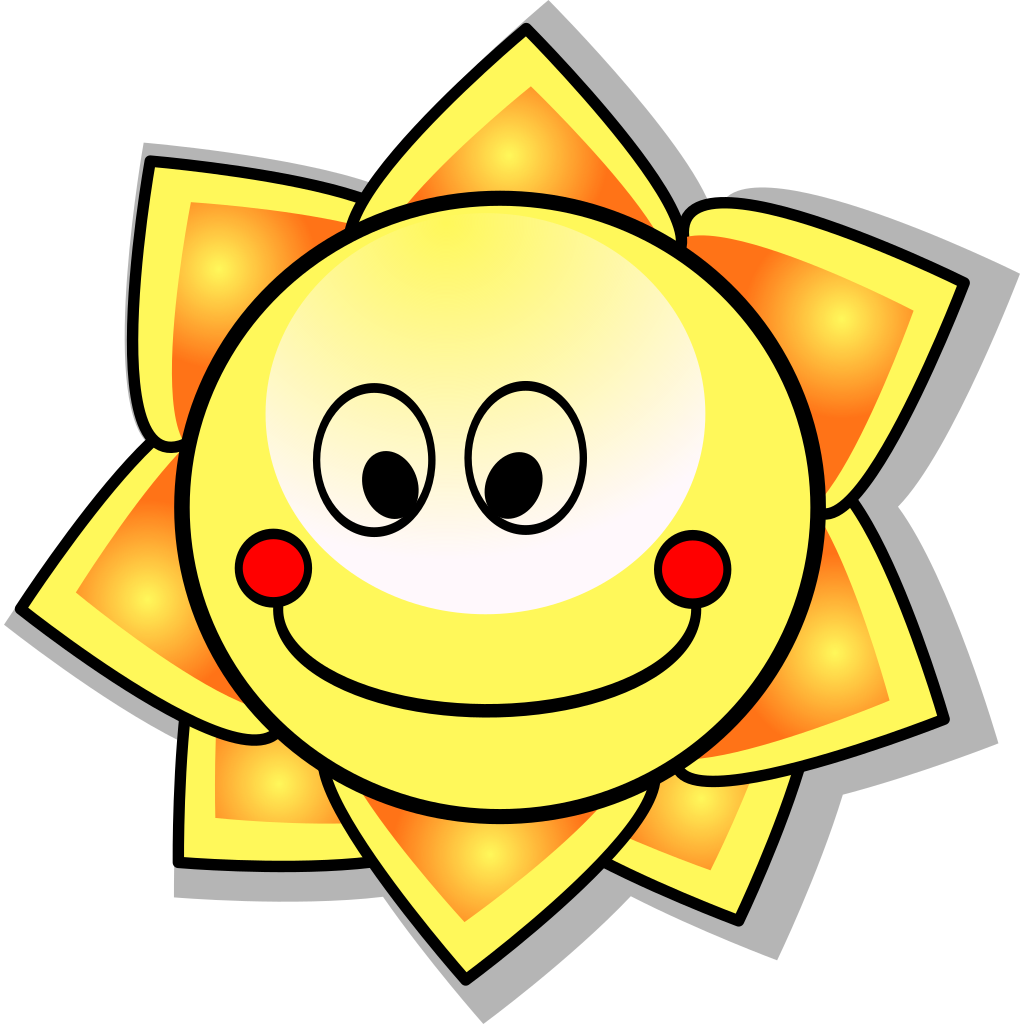 Smiling Cartoon Sun SVG Clip arts
