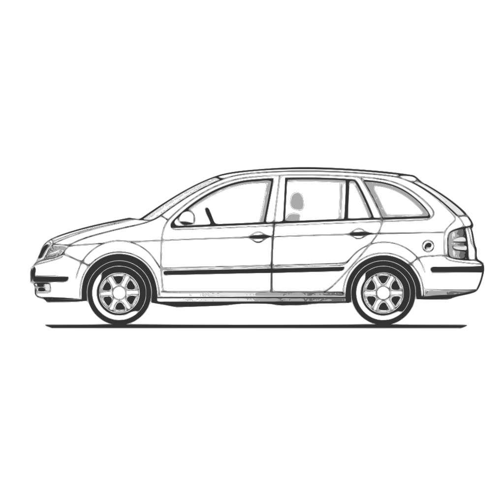 Car Compact Fabia Side View SVG Clip arts