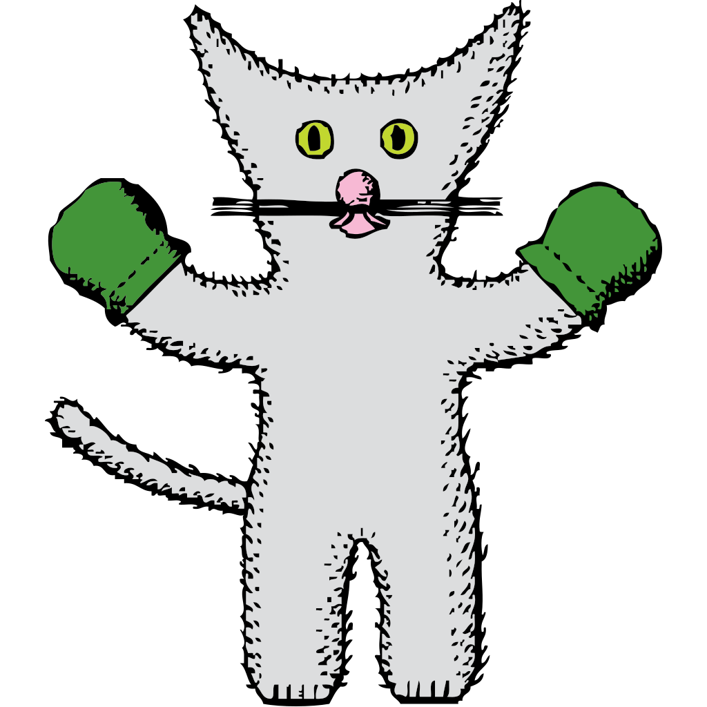 Kitten With Mittens SVG Clip arts