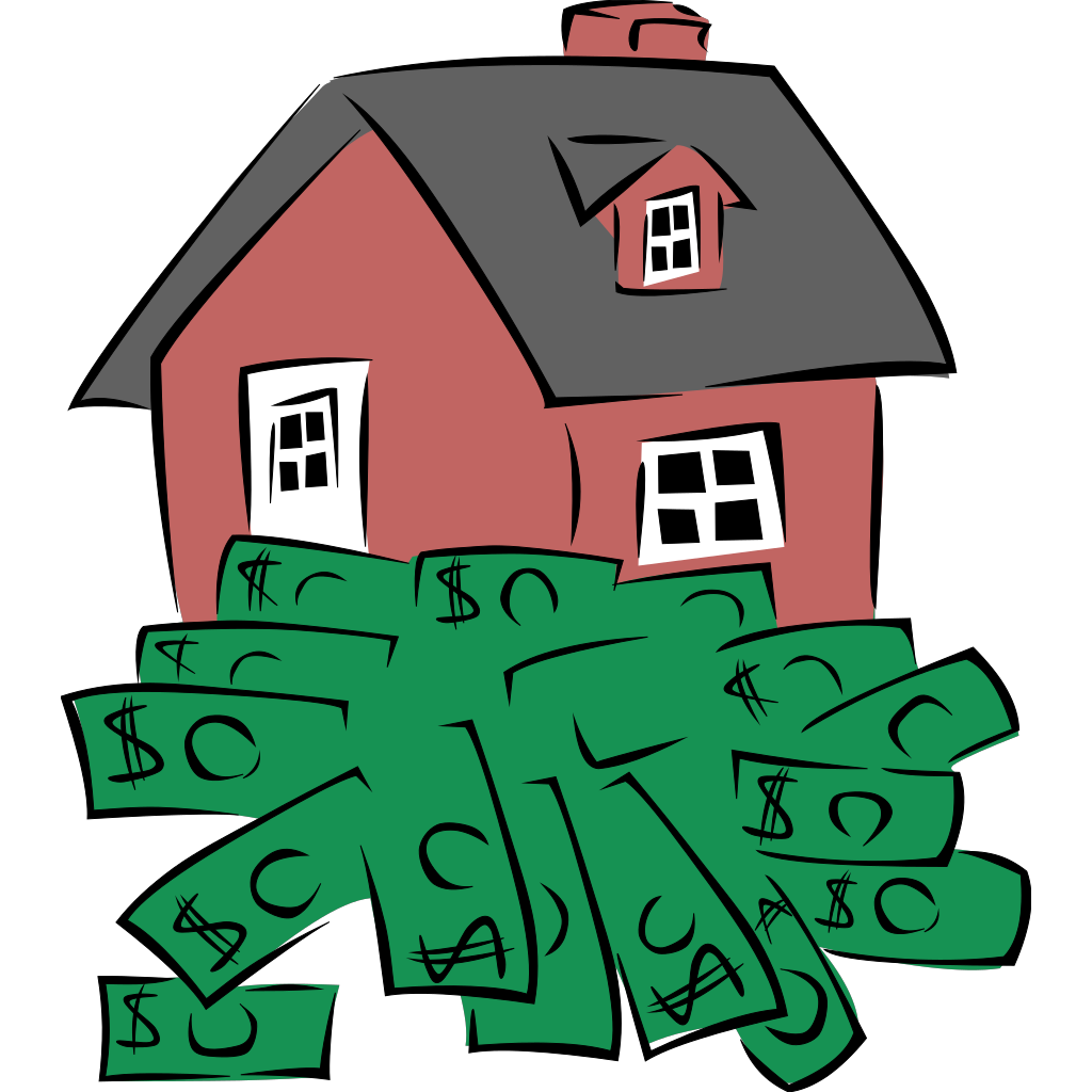 House Sitting On A Pile Of Money SVG Clip arts