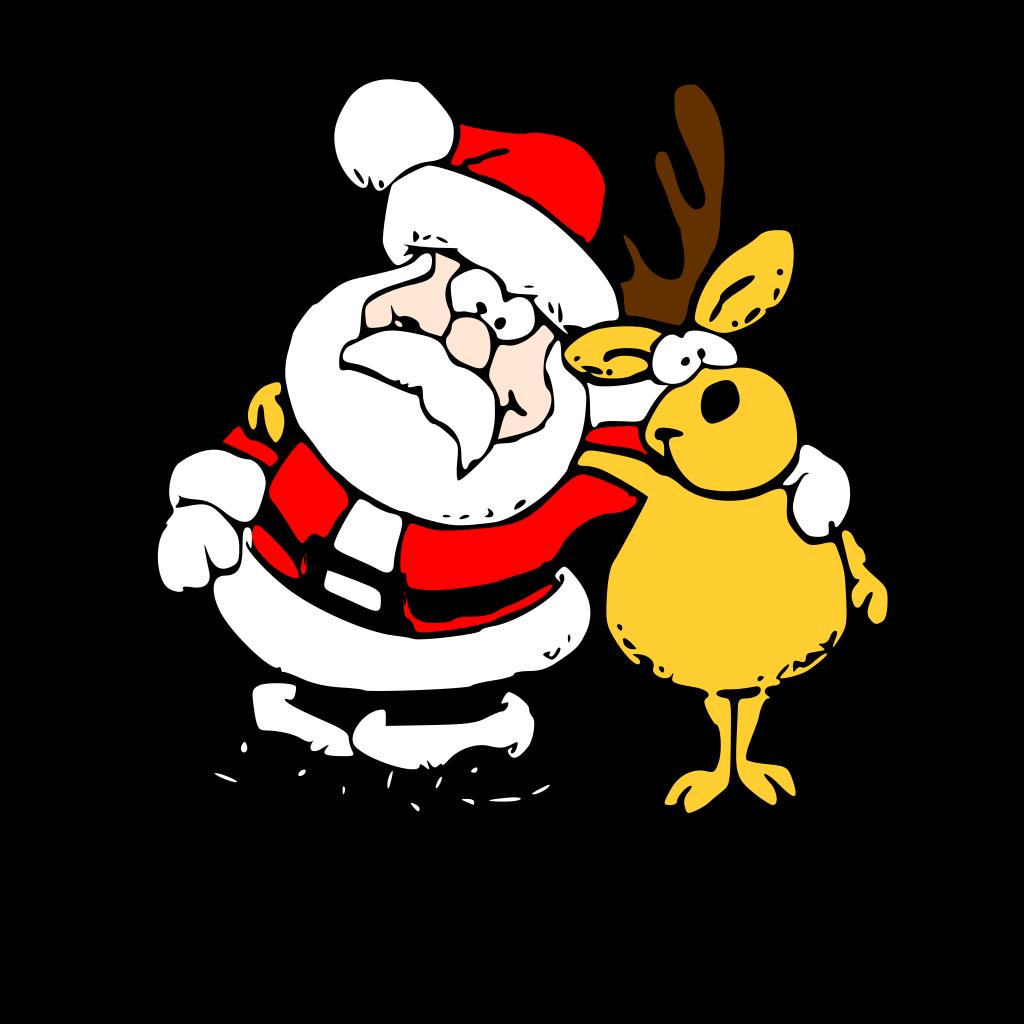 Santa And Reindeer SVG Clip Arts 588 X 595 Px