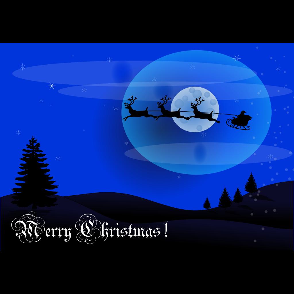 Xmas Card Reindeer Wagon Santa SVG Clip arts