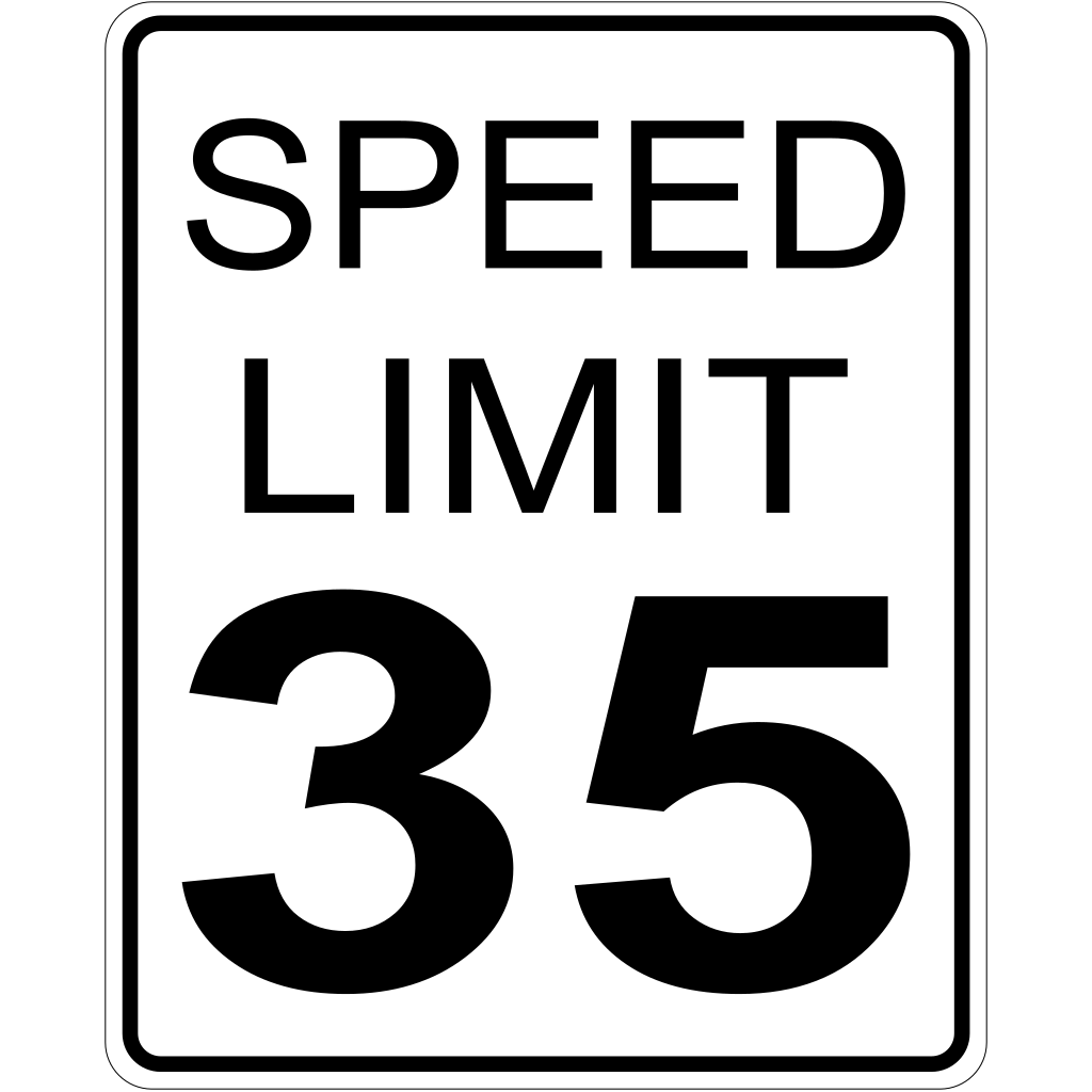 35mph Speed Limit Sign SVG Clip arts