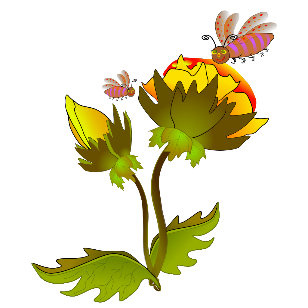 Bee And Flower SVG Clip arts