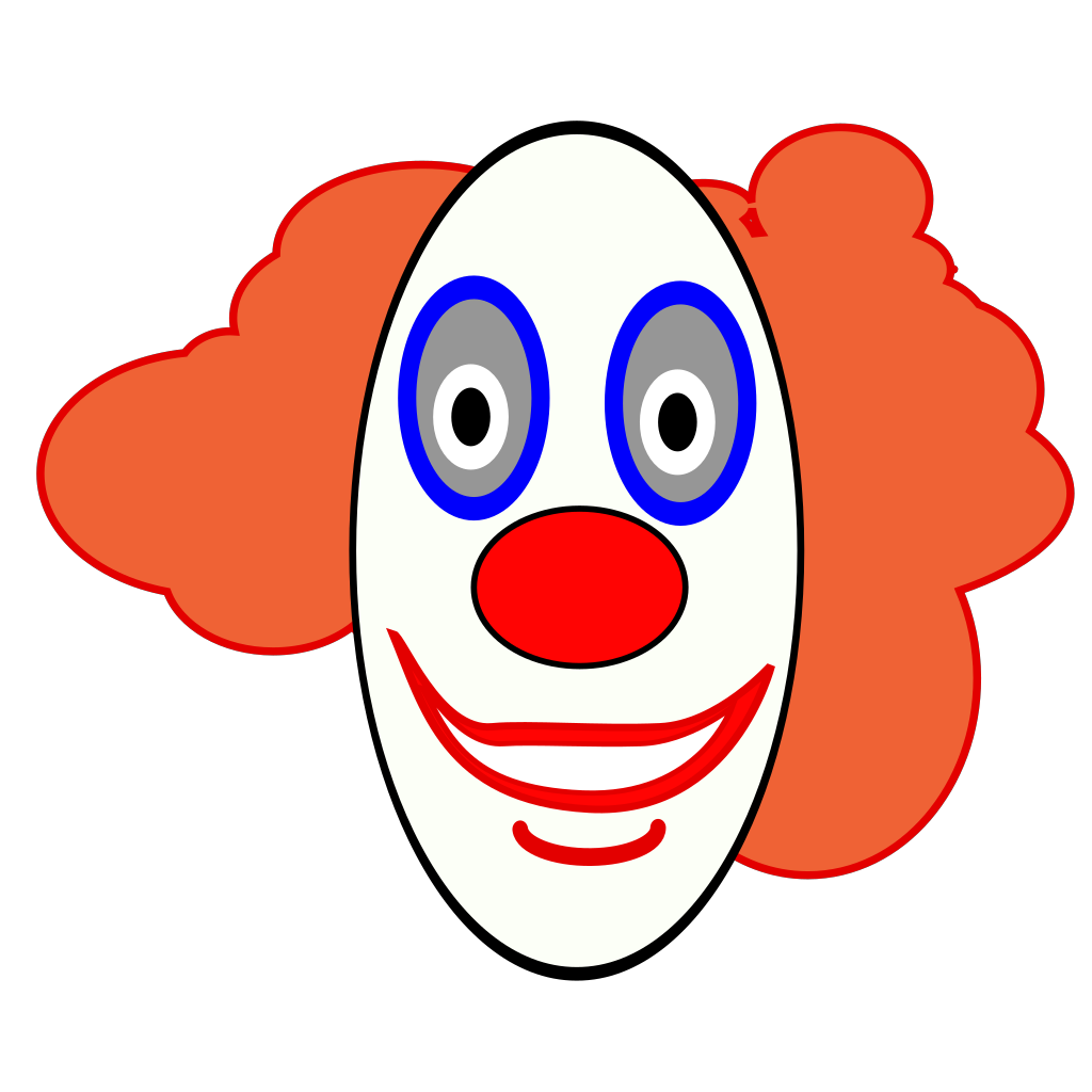 Creepy Clown Face SVG Clip arts