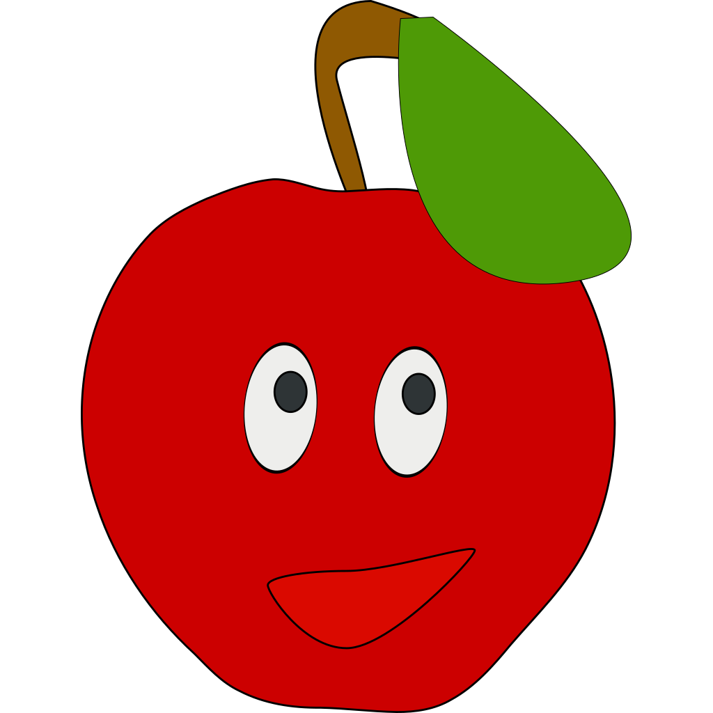 Smiling Apple SVG Clip arts