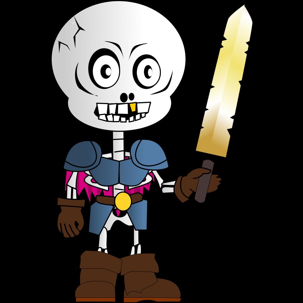 Skeleton Holding Sword SVG Clip arts