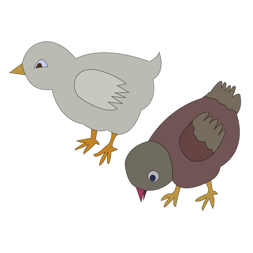Chickens 002 Figure Color SVG Clip arts