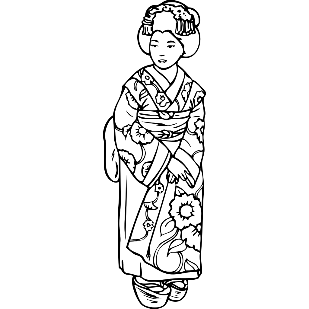 Geisha Girl Anime SVG Clip arts