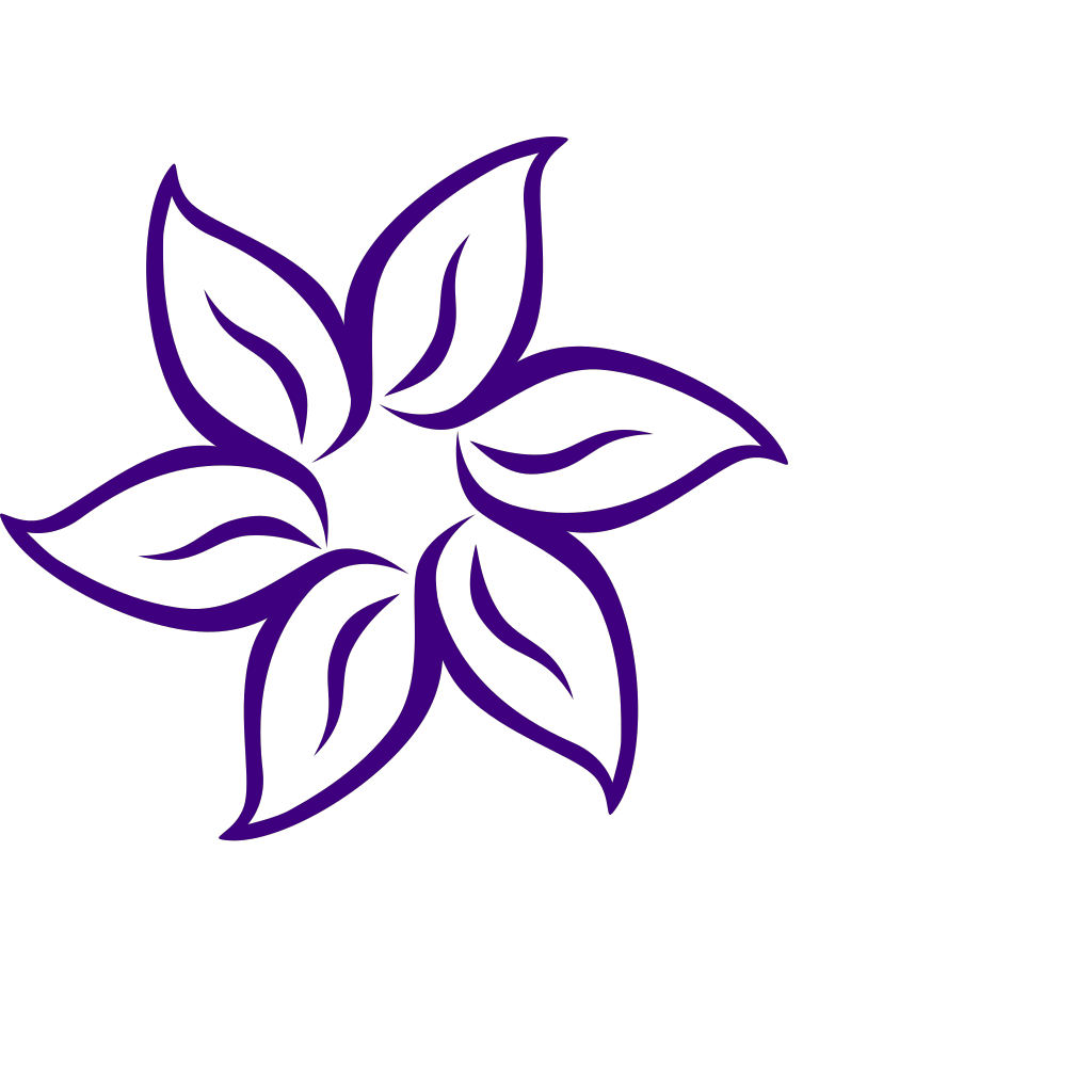 Purple Flower Outline SVG Clip arts