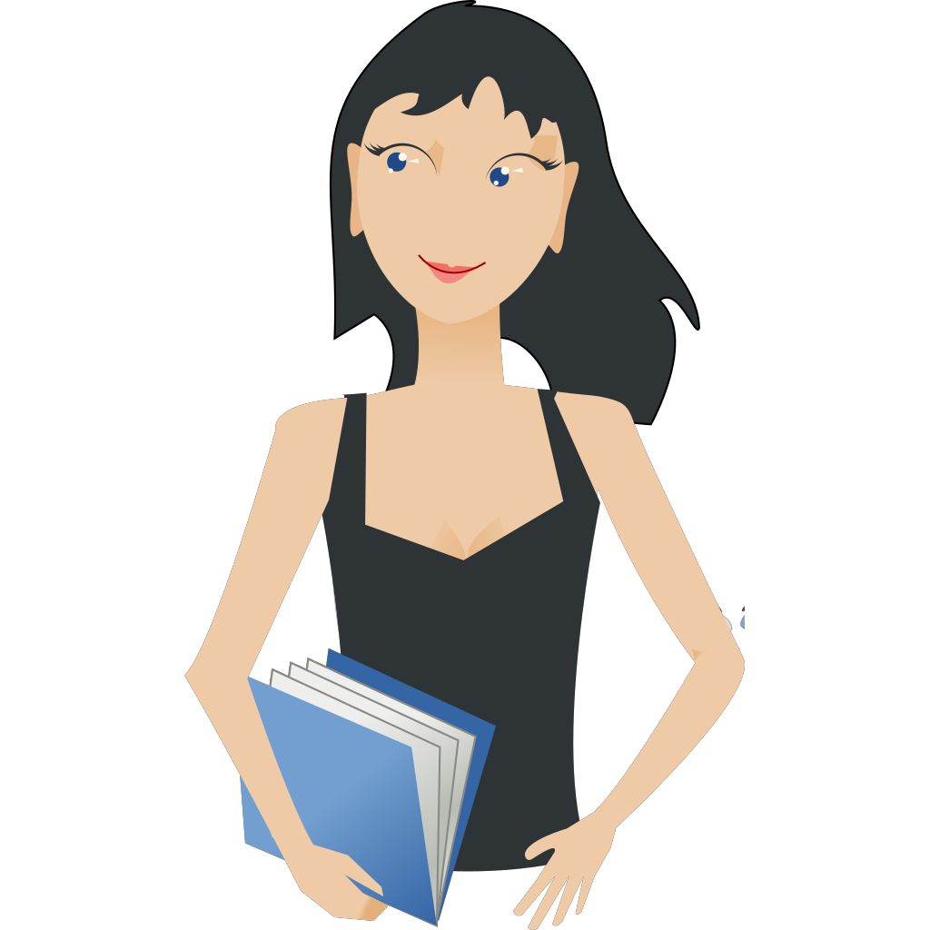 Student - Girl With Book SVG Clip arts