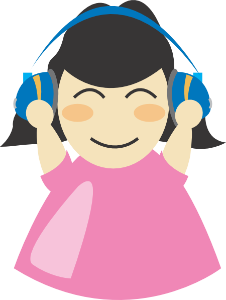 Girl With Headphones SVG Clip arts